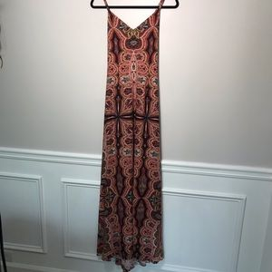 Alice + Olivia Handkerchief Print Maxi Dress Lined